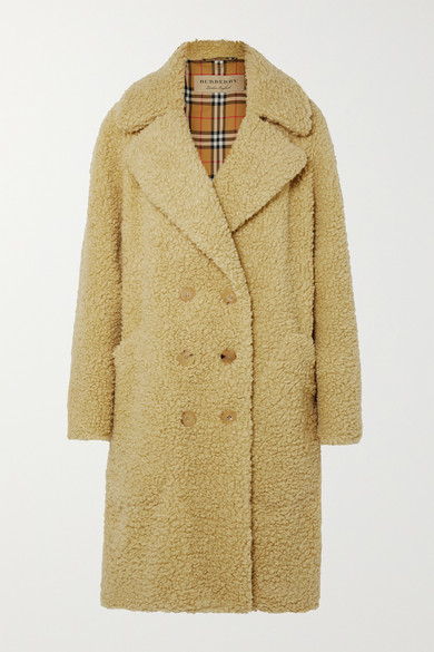 Oversized double-breasted wool-blend faux shearling coat