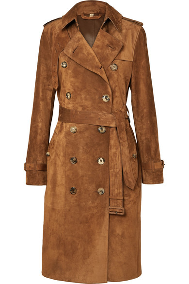 The Haddington Double-Breasted Suede Trench Coat in Brown