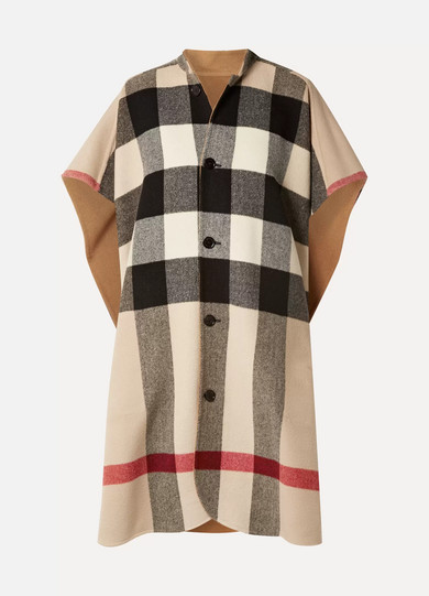 Reversible Checked Wool-Blend Cape in Camel