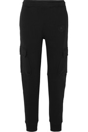 Appliquéd cotton-jersey track pants