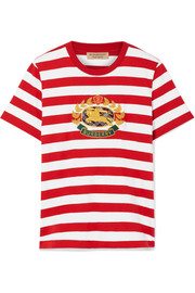 Burberry Appliquéd striped cotton-jersey T-shirt