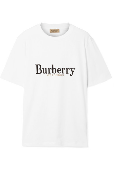 Embroidered Archive Logo Cotton T-Shirt in White from BURBERRY