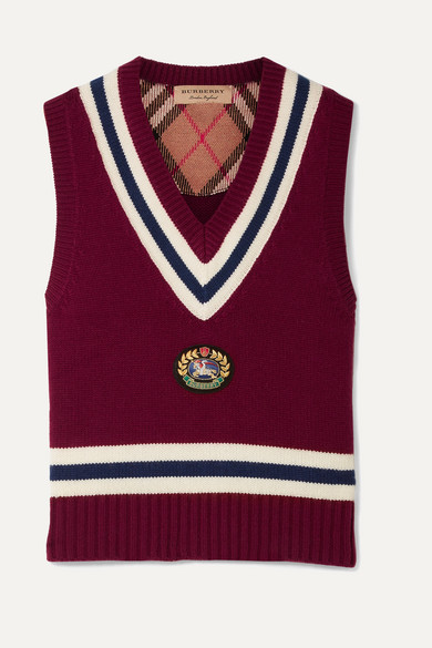 Maringa Logo Patch Striped Wool And Cashmere-Blend Knit Vest in Burgundy