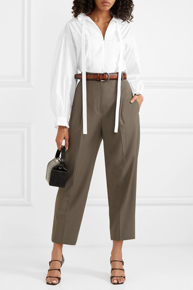 Burberry Tops Pussy-bow pintucked cotton-poplin blouse