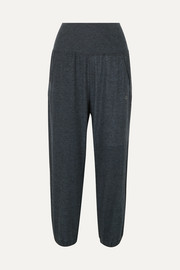 Cropped stretch-jersey track pants