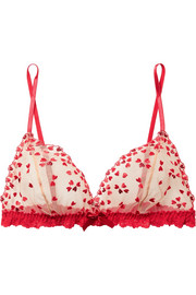 Heartthrob embroidered tulle and lace soft-cup bra