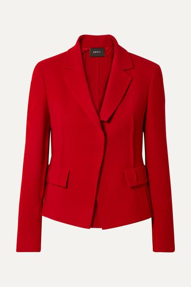Crepe Waist Seam Lapel Collar Jacket in Red