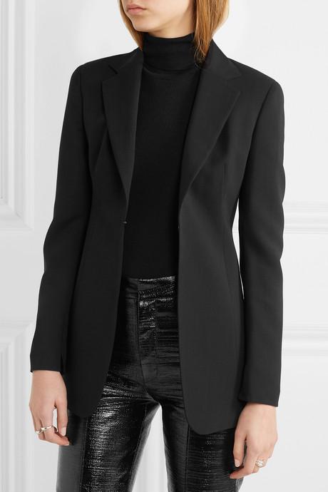 Odette leather-trimmed wool-blend crepe blazer