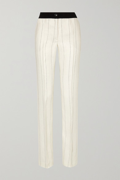 AKRIS | Akris - Carl Pinstriped Herringbone Linen Straight-leg Pants - Off-white | Goxip