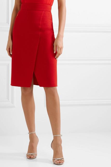 Wrap-effect wool-crepe skirt