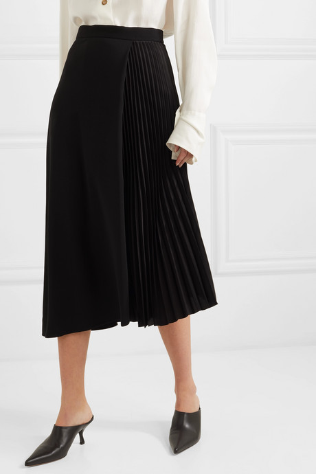 Wrap-effect wool-blend and pleated satin midi skirt