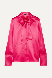 Pussy-bow mulberry silk-satin blouse