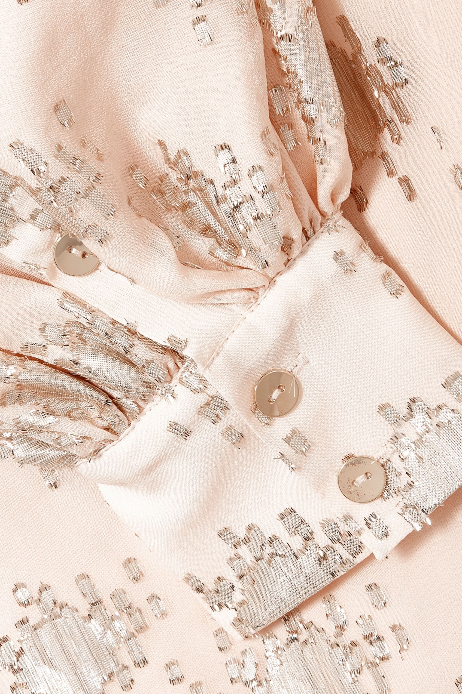 Stine Goya Glenda metallic fil coupé silk-blend wrap top