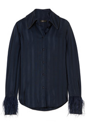 Mei feather-embellished striped satin-jacquard shirt