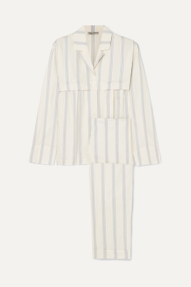 THREE GRACES LONDON Moore And Marmee Striped Cotton-Voile Pajama Set in Cream