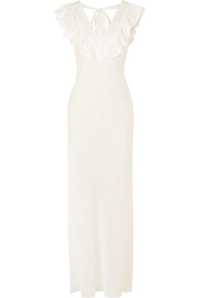 THREE GRACES LONDON Hazel Ruffled Silk Crepe De Chine Nightdress in White