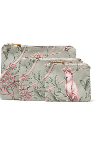 AERIN BEAUTY + Johanna Ortiz Green Bird Set Of Three Printed Canvas Cosmetics Cases