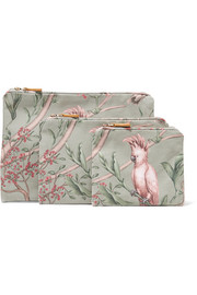 + Johanna Ortiz Green Bird set of three printed canvas cosmetics cases