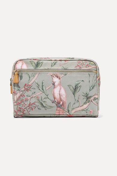 AERIN BEAUTY + Johanna Ortiz Green Bird Medium Printed Canvas Cosmetics Case - One Size