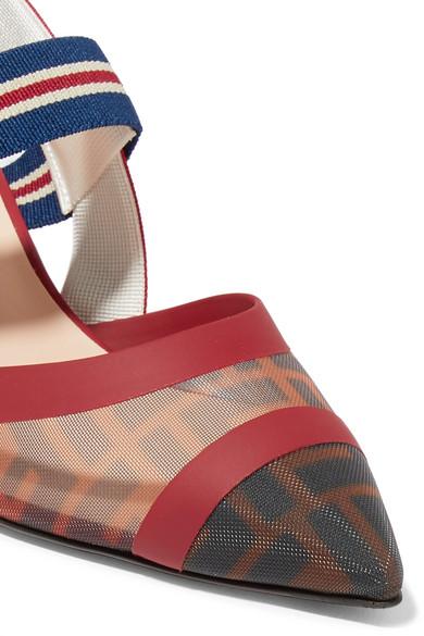Fendi Pumps Colibrì logo-print mesh and rubber slingback pumps