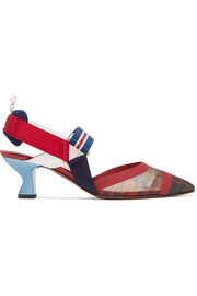 Colibrì logo-print mesh and rubber slingback pumps