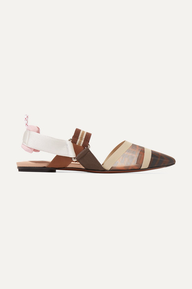 Colibrì Logo-Print Mesh And Rubber Slingback Point-Toe Flats in Brown