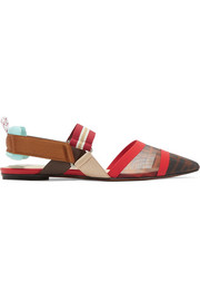 Fendi Colibrì logo-print mesh and rubber slingback point-toe flats