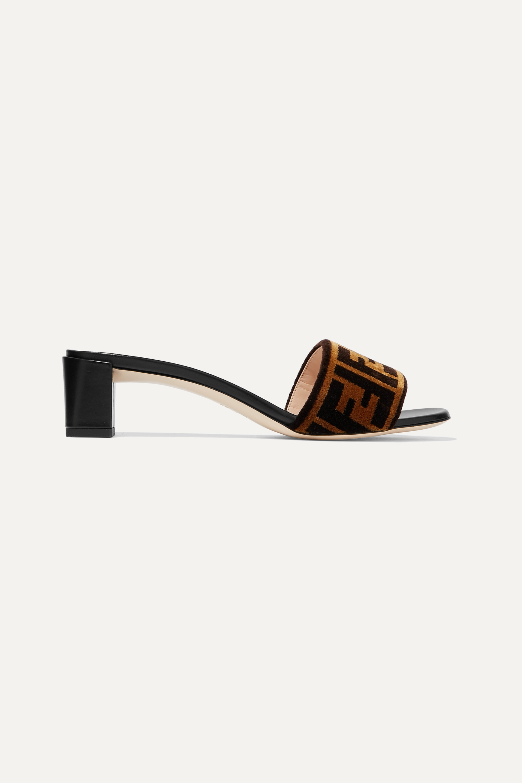 Fendi Logo-print velvet and leather mules