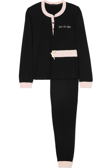 Two-Tone Embroidered Modal-Blend Jersey Pajama Set in Black