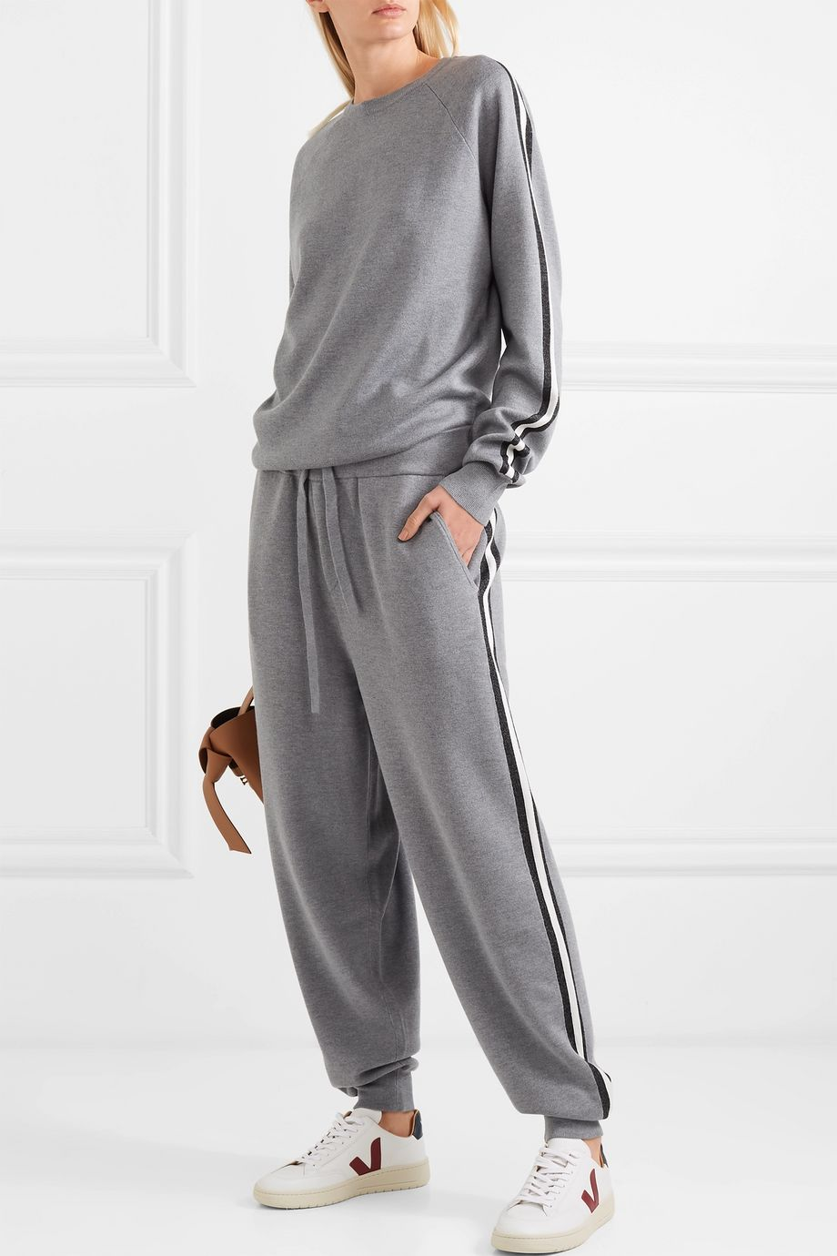 Olivia von Halle Missy London striped silk and cashmere-blend sweatshirt and track pants set