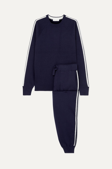 Missy Paris Striped Silk-Blend Sweatshirt And Track Pants Set in Navy
