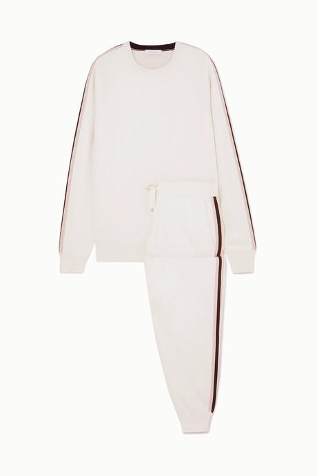 Cream Missy Moscow striped silk and cashmere-blend sweatshirt and track pants set | Olivia von Halle AJitvl