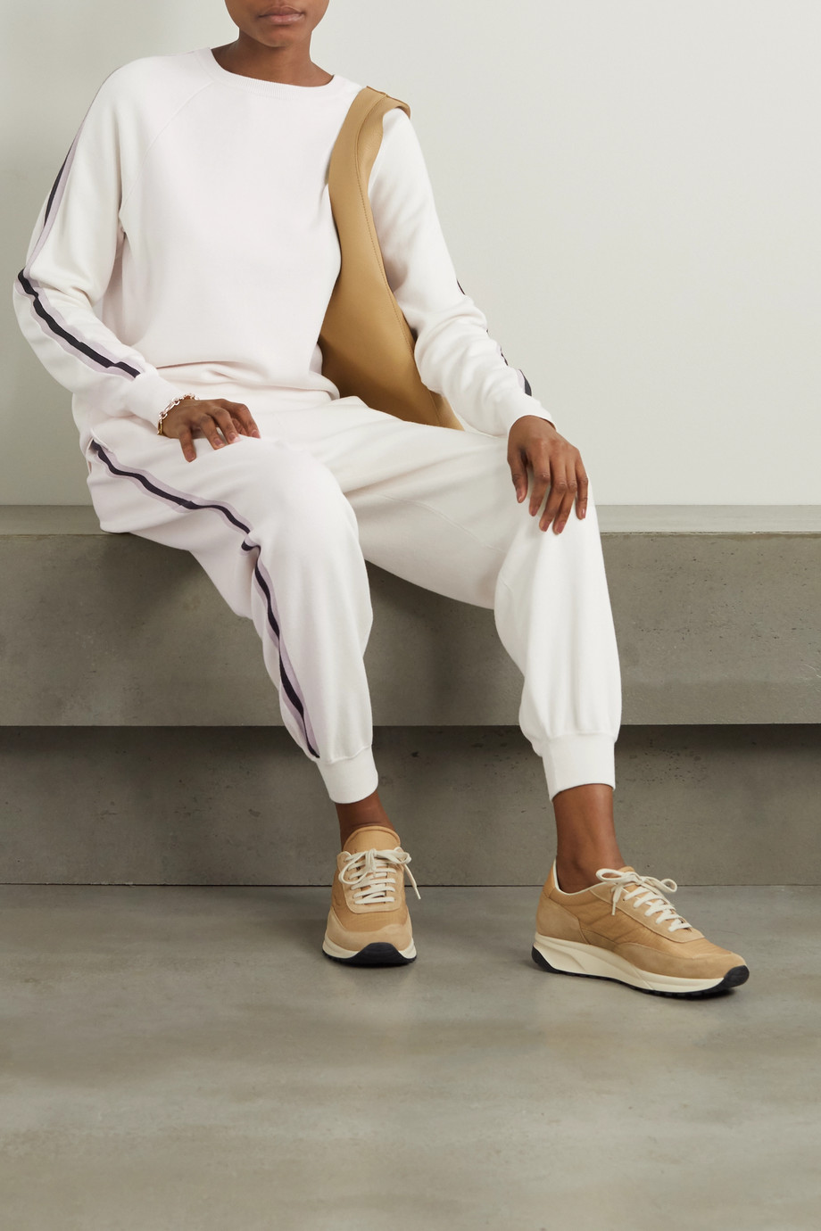 Olivia von Halle Missy Moscow striped silk and cashmere-blend sweatshirt and track pants set