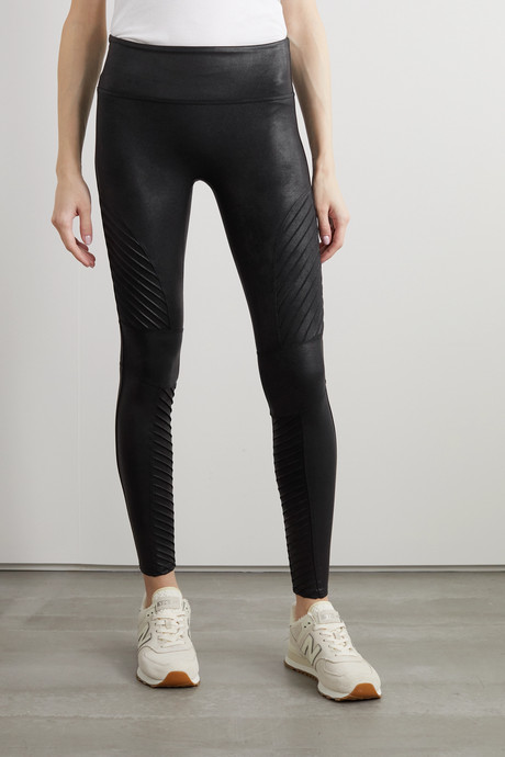 Moto faux stretch-leather leggings