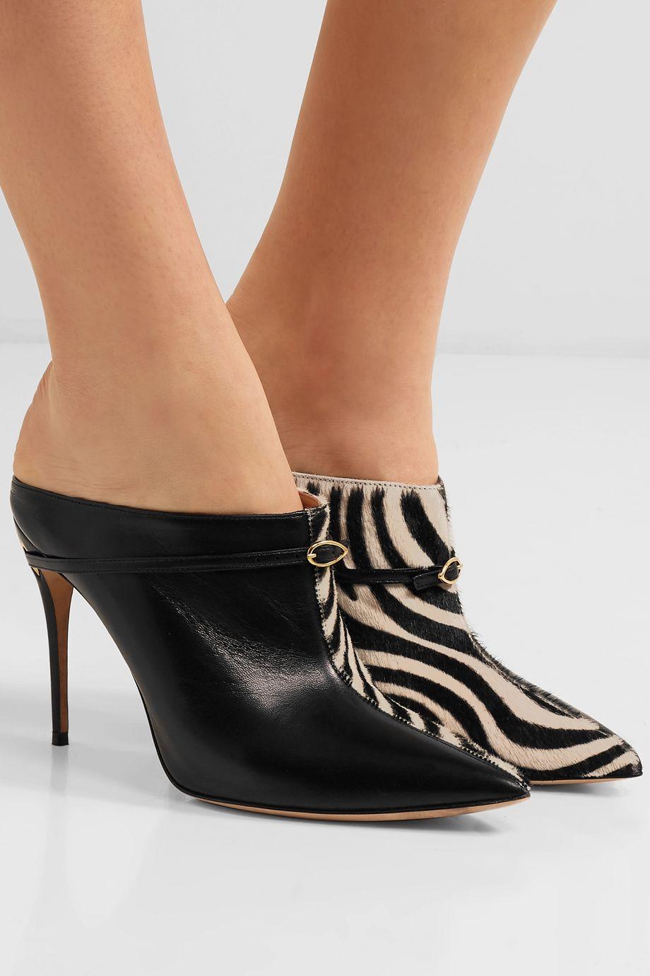 Jennifer Chamandi Alberto 105 zebra-print calf hair and leather mules