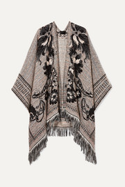 Fringed jacquard-knit wrap