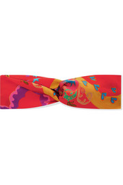 Knotted printed silk-satin headband