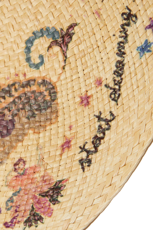 Etro Grosgrain-trimmed floral-print straw hat