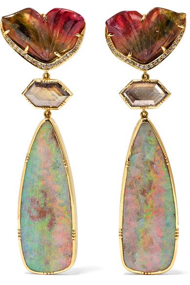 BROOKE GREGSON Palamino Flower 18-karat gold multi-stone earrings