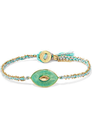 BROOKE GREGSON Talisman 18-karat gold, diamond and enamel bracelet