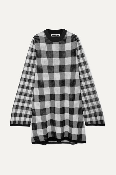 Checked Monochrome Knitted Dress in Gray