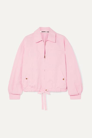Pink Linen Bomber Jacket