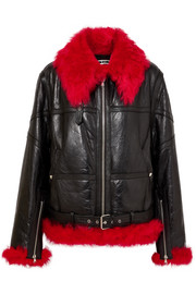 Oversized shearling-trimmed textured-leather jacket