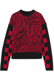Ribbed knit-paneled intarsia cotton-mesh sweater