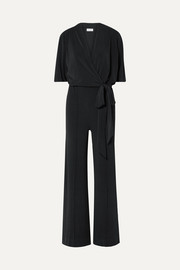 Zhou belted wrap-effect stretch-jersey jumpsuit