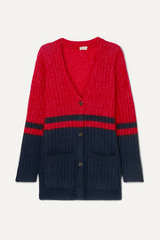 Two-tone ribbed-knit cardigan