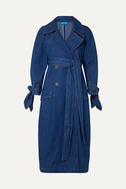 Audie belted denim trench coat