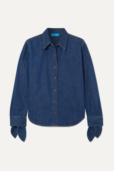 M.I.H. JEANS | M.i.h Jeans - Larsen Tie-detailed Denim Shirt - Dark denim | Goxip
