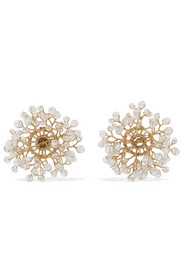 14 / Quatorze Dewdrop gold-plated crystal earrings