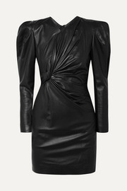 Cobe twisted leather mini dress
